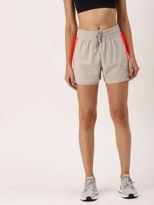 Color Block Women Grey Sports Shorts