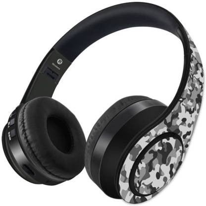 Kook N Keech Camo Effect Grey-Wireless Headphones Bluetooth Headset