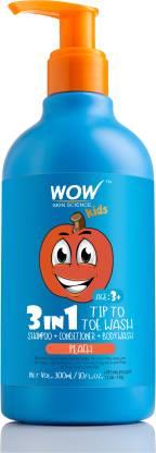 WOW SKIN SCIENCE Kids 3 in 1 Tip to Toe Wash - Peach - 300 mL