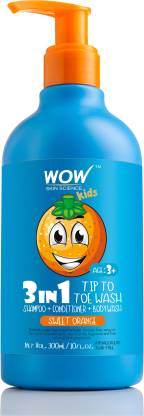 WOW SKIN SCIENCE Kids 3 in 1 Head to Toe Wash - Sweet Orange - 300 mL