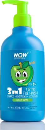 WOW SKIN SCIENCE Kids 3 in 1 Head to Toe Wash - Green Apple - 300 mL