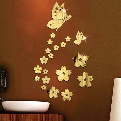 wall1ders Medium 21 Butterfly Flower Golden (Size 35 x 58 Cm) 3D Acrylic Stickers, 3D Acrylic Mirror Wall Stickers for Living Room, Hall, Bed Room & Home.