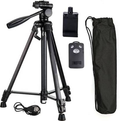 BUY SURETY Travel Camera Tripod Portable Foldable Tripod-3388 Adjustable Aluminum Professional Lightweight Camera Stand With Three-Dimensional Head & Quick Release Plate With Mobile Clip Holder & BT Remote Best Use for Make Videos on Tiktok,Vigo Video,Snapchat, YouTube Compatible with All Smartphones Tripod
