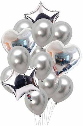 Smartcraft Solid Balloon Bouquet (Pack of 13) -Silver, Balloons Party Decoration Balloon Balloon