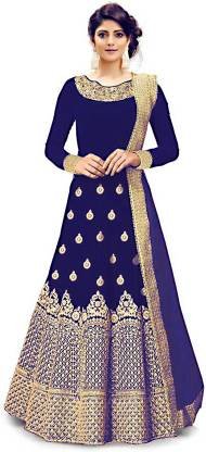 Active Silk Embroidered Gown/Anarkali Kurta & Bottom Material(Semi Stitched)