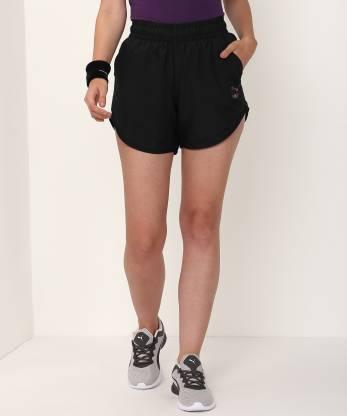 Puma Solid Women Black Regular Shorts