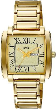 SPYN Day Date IGP Gold Plated Day Date Analog Watch - For Men