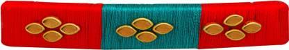AccessHer vibrant orange, green silk thread hair buckle for women Hair Clip