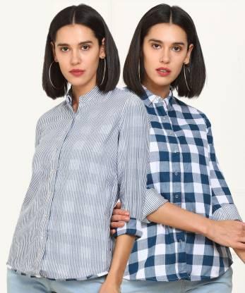 Wrangler Women Striped, Checkered Casual White, Blue Shirt