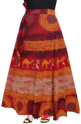 Women Printed Wrap Around Red Skirt