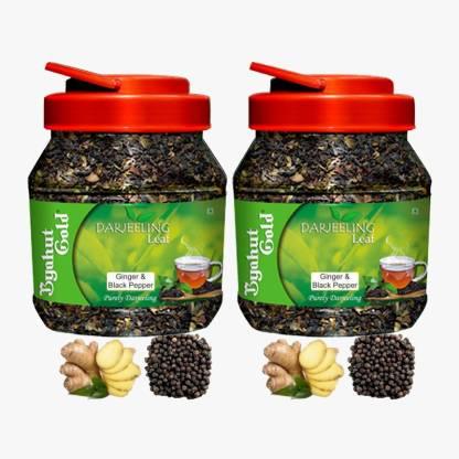 Byahut Gold Ginger Black Pepper 2x Combo Darjeeling Leaf Ginger, Black Pepper Green Tea Mason Jar