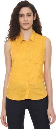 People Women Printed Casual Yellow Shirt