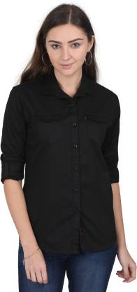Rope Women Solid Casual Black Shirt