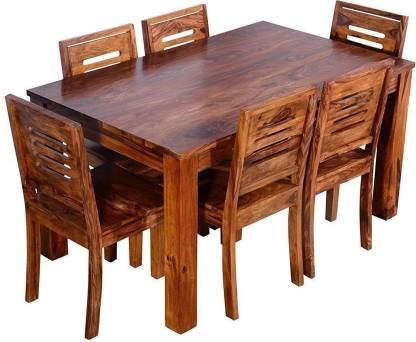 TRUE FURNITURE Sheesham Wood 6 Seater Dining Table Set with Chairs for  Living Room (Teak Finish) Solid Wood 6 Seater Dining Set Price in India -  Buy TRUE FURNITURE Sheesham Wood 6