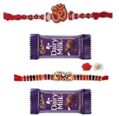 Indigo Creatives Om rakhi and American Diamond Two 2 family rakshabandhan rakhi combo Set with 2 chocolate for Brother Silk Gift Box