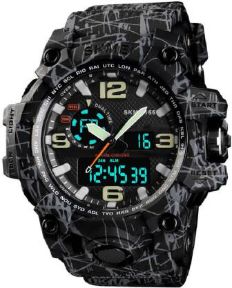 Skmei 1155 Grey Black Chronograph Analog Digital Analog-Digital Watch - For Men