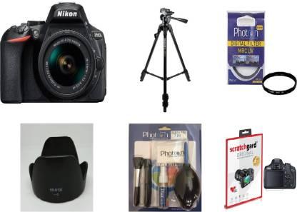 Nikon D5600  With Basic Accessory Kit  DSLR Camera Body with Single Lens: AF P DX Nikkor 18 55 MM F/3.5 5.6G VR  16  GB SD Card  Black  Nikon DSLR