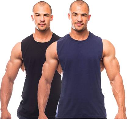 Solid Men Round Neck Blue, Black T-Shirt(Pack of 2)