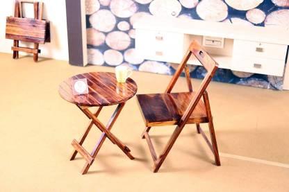 Allie Wood Teak Finish Solid Wood Table & Chair Set