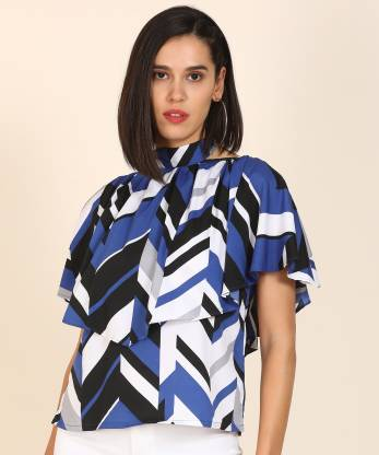 AND Casual Cape Sleeve Printed Women Multicolor Top