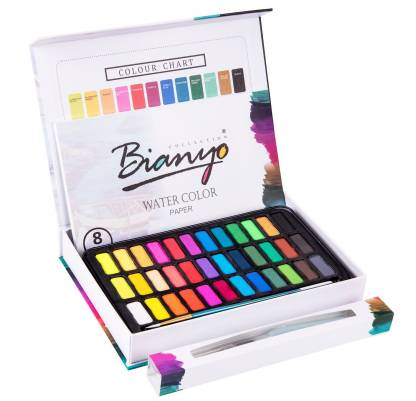Bianyo Artist Watercolor Cakes Set With water brush pen Art Painting  (Set of 36, Multicolor)