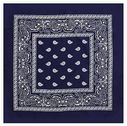 "BISMAADH Novelty Double Sided Print Paisley Cowboy Party Favor Scarf Headband [""Navy Blue""] Handkerchief"