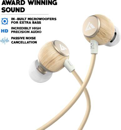 Boult Audio BassBuds Oak Pure-Wood Wired Headset with Mic