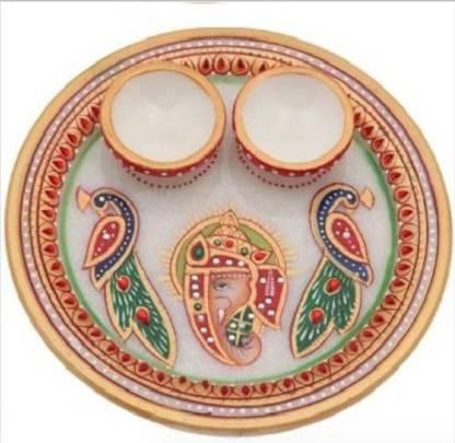 JC Crafts & Fabrics Marble Meenakari Work Ganesh Handpainted Pooja Thali Set Marble, Stoneware