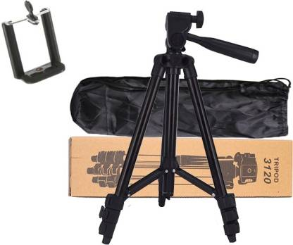 Blue Birds High Quality 3120 Tripod Stand 360 Degree Universal Portable Digital Camera DSLR Mobile Stand Holder Lightweight Aluminum Flexible Portable Three-way Head camera stand Compatible All Smartphone Mobile Holder Best Use for Make Videos On Youtube,Tiktok,Vigo Video,Snapchat and Dubsmash Tripod