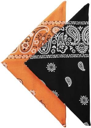 "BISMAADH Paisley Cotton Bandanas set, Pack of 2 [""Black"",""Orange""] Handkerchief"