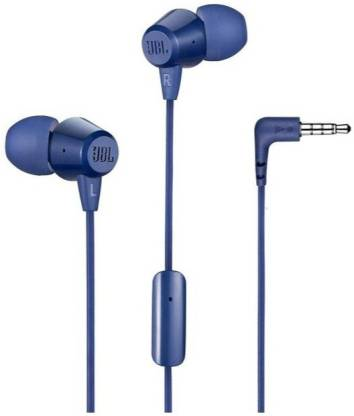 JBL T50HI Wired Headset with Mic  (Blue, In the Ear) thumbnail