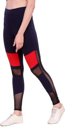 Blinkin Color Block Women Red, Blue Tights