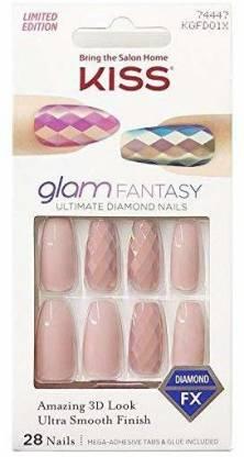 Kiss Glam Fantasy Ultimate Diamond 28 Nails KGFD01X Cream