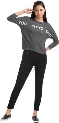 SUGR 3/4th Sleeve Printed Women Sweatshirt