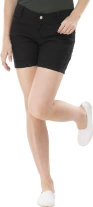 Solid Women Black Regular Shorts