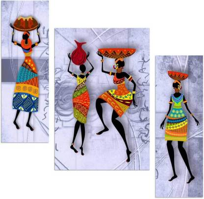 Art Amori African lady 3 piece MDF Painting Digital Reprint 12 inch x 18 inch Painting