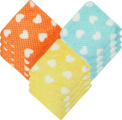 "Neska Moda Womens Heart Design Handkerchief 25X25 CM [""Blue"",""Orange"",""Yellow""] Handkerchief  (Pack of 12)"