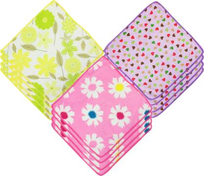 "Neska Moda Womens Floral & Heart Design 25X25 CM [""Purple"",""Pink"",""Yellow""] Handkerchief  (Pack of 12)"