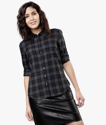 Tokyo Talkies Women Checkered Casual Grey Shirt