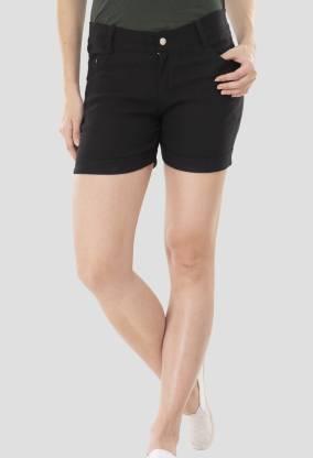 AAKRITHI Solid Women Denim Black Regular Shorts