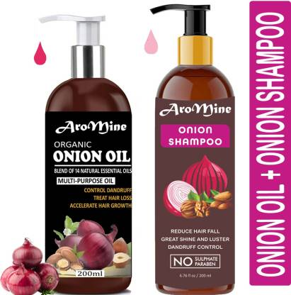AroMine Natural & Organic Red Onion Oil(200ml) & Red Onion Shampoo(200ml) Combo Pack