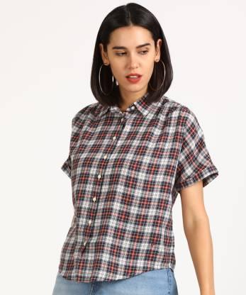 Denizen DNZ LEAH SS SHIRT LEAH SS SHIRT NAVY BLA Women Checkered Casual Multicolor Shirt