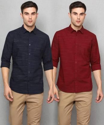 Men Self Design Casual Shirt(Pack of 2)
