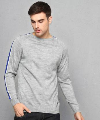 Metronaut Self Design Crew Neck Casual Men Grey Sweater