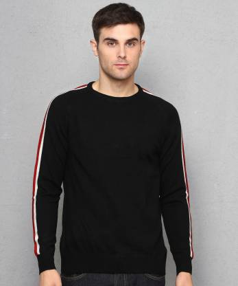 Metronaut Self Design Crew Neck Casual Men Black Sweater