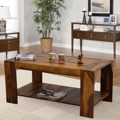TimberTaste Timbertaste Sheesham Solid Wood Himani Natural Teak Finish Coffee Center Table Teapoy Solid Wood Coffee Table