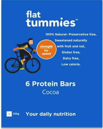 Flat Tummies Protein Bar with Cocoa, Pack of 6, 210g Protein Bars