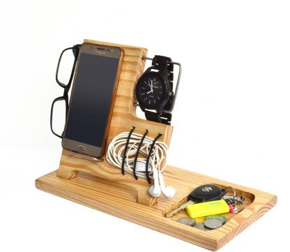 WILLART 5 Compartments Pine Wood Dock Charging Station