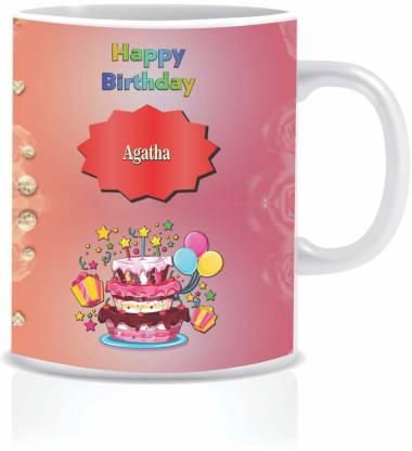 Jayaanu Happy Birthday AGATHA Ceramic Coffee Mug