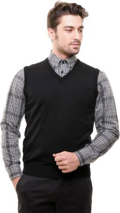 BASE 41 Solid V Neck Formal Men Black Sweater